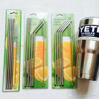 Wholesale Cup Juice - 304 Stainless Steel Straw Kit Set Drinking Straw Beer Juice Straws Cleaning Brush Set Retail Packing 4+1 Kit Fits 30 20 oz Cups