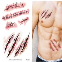 Wholesale Temporary Tattoos For Scars - Wholesale-Holloween Gift Bloody Bleeding Scary Scars Waterproof Temporary Tattoo Stickers for Practical Jokes