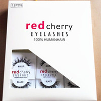 Wholesale Red Synthetic Hair Extensions - RED CHERRY False Eyelashes #WSP #523 #43 #747M #217 Makeup Professional Faux Nature Long Messy Cross Eyelash Winged Lashes Wispies Extension