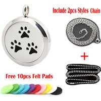 Wholesale Dog Steel Chain - 1pcs magnet 30mm cute pet dog pew Aromatherapy Essential Oil surgical Stainless Steel Perfume Diffuser Locket Necklace with chain and pads