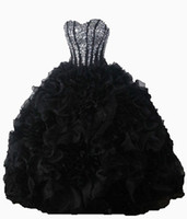 Wholesale Black Purple Quinceanera Dress - 2017 Sexy Black Crystal Ball Gown Quinceanera Dresses with Sequined Beading Organza Plus Size Sweet 16 Dresses Vestido Debutante Gowns BQ31