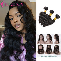 Wholesale Wave Caps Wholesale - Pre Plucked 360 Lace Frontal Closure With 3 Bundles Brazilian Loose Wave Lace Frontal With Cap And Elastic Straps Knots Bleached