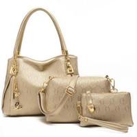 Wholesale Lady Leisure Bags Women Handbags - 2017 Fashion Women Handbag leather Purse Ladies Shoulder Messenger Bags 3 sets Leisure Lash Female Package Bolsas