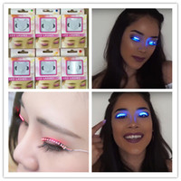Wholesale LED Eyelashes Shinning False Lashes Fashion Glowing Interactive Light Eyelashes Waterproof Lashes for Christmas Halloween Dance Nightclub