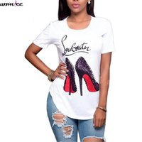 Wholesale Wholesale Printed T Shirts Cheap - Wholesale- Womdee high heels print Funny letter summer t-shirt women's princess short sleeve t shirt frail tops Cheap female tshirt 2017