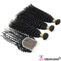 Wholesale Cheap Hair Weave Free Shipping - Brazilian Kinky Curly Virgin Hair Human Hair Bundles With Lace Closure Dyeable Cheap 6A Brazilian Curly Human Hair Weaves Free Shipping