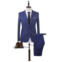 calças de baile para homens venda por atacado-Atacado- Novo Designer Homens Ternos Moda Clássico Slim Fit Cor Sólida Formal Vestido De Casamento Skinny Estilo Britânico Ternos Mens (Jacket, + calças)