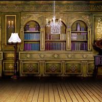 Wholesale indoor wallpaper - Indoor Room Bookshelf Backdrop Photography Bookcase Floor Lamp Vintage Picture Shooting Wallpaper Prop Books Photo Background Wood Flooring