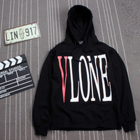 Wholesale Warm Pullovers - VLONE 1:1 Version High Quality Brand Clothing Hoodies Men Fashion Warm Fleece Outerwear Coats Skateboard Hooded Sweatshirts