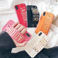 Wholesale Bracket Fitting - Wristband leather English alphabet mobile phone shell case for iphone X 7 7 plus 8 8 plus with bracket function hard back cover 6 6S 6 plus