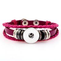 silber armband leder knebel großhandel-Neue 18mm Noosa Button Leder geflochten Armband Schmuck Uhrenarmbänder Stil Armband Armbänder für DIY Snap Buttons