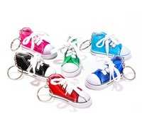 Wholesale Led Keychain Color - Wholesale 7 Color 3D Sneaker Keychain Novelty Canvas Shoes Key Ring Shoes Key Chain Holder Handbag Pendant Favors F935L