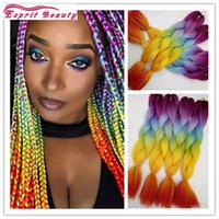 Wholesale Colorful Hair Ombre - Hotsale 5packs lot Fashion Rainbow Colorful Ombre Synthetic Jumbo Braiding Hair Extensions African Box Ombre Braids Crochet Hairstyle Zopfe
