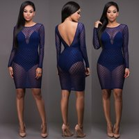 3f1bd0d080b 2017 Plus Size New Arrival Summer Sexy Printed Party Dresses Mesh Sheer  Patchwork backless Blue Knee Length Clubwear Bodycon Bandage Dress. 7% Off