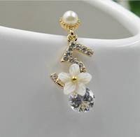 Wholesale camellia flower earrings - 2018 New arrival Black letters 5 white flowers earrings Camellia Rhinestone cc Earring women jewerly summer style