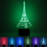 Wholesale 3d Eiffel Tower Decor - 3D Illusion Eiffel Tower LED Night Light 7 Color Changeable Fairy Night Lights USB Powered Table Desk Lamp Decor