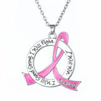 Wholesale Ribbon Pendants - comejewelry Pink Ribbon Charms Breast Cancer Awareness Necklace Inspirational Jewelry Engraved I Will Stand Strong I Will Fight I Will Win