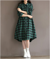 Wholesale Girls Clubbing Clothes - Wholesale- 2016 autumn and winter plus size clothing vintage loose green plaid long-sleeve cotton cloth one-piece dress mori girl clothing