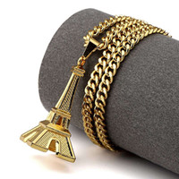 Wholesale Gold Eiffel Tower Charms - Gold Plated Eiffel Tower Pendant Necklaces For Men Women Hip Hop Jewelry Hipster Gift Fashion Long Necklace Jewellery