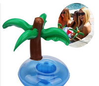 Wholesale Pool Can - Floating Coconut Palm Tree Inflatable Drink Beer Cup Can Holder Swimming Pool Beach Party Toy