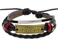 Wholesale Warp Chains - Vintage Red Beads Handmade Woven Black Leather Bracelet Bangle For Women Men Jewelry Hip-hop Multilayer Warp Bangle