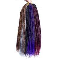 Wholesale Synthetic Hair 18 Pcs - 18inch 2X Havana Twist Crochet Braiding 3 Pcs lot Long Senegalese Twist Braid Hair Bellqueen Synthetic Hair Extension