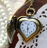 Wholesale Free Animal Stationary - NEW Hot Sale Heart shaped Antique quartz Pocket Watches necklace ,Halloween christmas gift 10pcs  lot free shipping