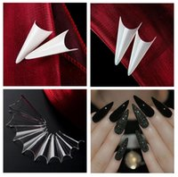 Wholesale Nails Tips Stiletto - FREESHIPPING - STILETTO GROOVE NATURAL FRENCH NAIL TIPS 500 tip   bag