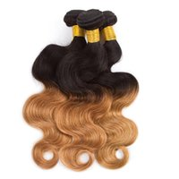 Ombre Peruvian Virgin Hair Body Wave Cabelo Humano tecendo dois tons T1B / 27 8-28inch Ombre Hair Extensions 4 Bundles 100g Piece