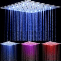 Wholesale Wall Mounted Led Shower Faucet - Contemporary LED Waterfall Faucet Temperature Sensing Bathroom Rainfall Shower Heads Square Chrome Led Head 16-Inch Taps