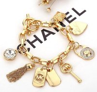 Wholesale Charm Heart Key Bracelet - key letter bracelets with love heart gem 925 sterling silver gold plated pendants Brand Crystal Charm Bracelets Bangle jewelry for men women