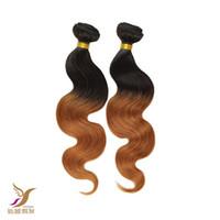 Wholesale 6a ombre hair weave online - The Best Quality A Unprocessed Virgin Brazilian T1B Ombre Color Body Wave Hair Brazilian Human Remy Hair Weave quot