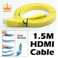 Wholesale Digital Av Hdmi Hdtv - 1.5M HDMI to HDMI Cable Male Flat Noodle 24K High Speed AV Audio Video Wire 1.4 Version for HDTV Digital XBOX