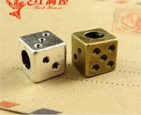 Wholesale Dice Bracelets - 9*9*9MM Antique Bronze european square dice charms for bracelet, vintage metal silver loose beads, brass big hole beads diy jewelry making