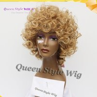 Wholesale french curls wig - Hot Sale French Female Curl Hairstyle Wig Young Glamorours Dark Ombre light blonde Tip color Short wavy Synthetic Cosplay Wigs