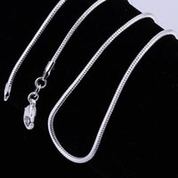 Wholesale Vintage Steel Box - Cheap 925 Sterling Silver Smooth Snake Chain Necklace Lobster Clasps Chain 1mm 16inch--24inch Box Chain Vintage Necklace DHL Shipping