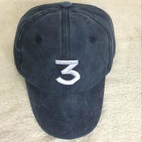Wholesale Denim Caps Hats - Wash the denim CHANCE the rapper 3 Dad Hat Letter Embroidery Baseball Cap Hip Hop Streetwear Frog Snapback Daddy Hat Bone VETEMENTS cap