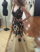 Wholesale Sexy Sleevless Dresses Purple - Arabic Black Lace Appliques Mermaid Prom Dresses 2017 Sleevless V-neck Vestidos De Fiesta Beaded Backless New Champagne Evening Gowns