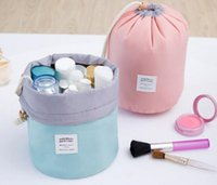 Wholesale Wholesale Makeup Tables - Free shipping round shape toiletry bag travel cosmetic makeup bag girl fashion cosmetic pouch 4 colors free shipping