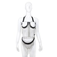 Wholesale female slave costumes for sale - Leather and Stainless Steel Metal Fetish Flirting Costume Sex Slave Toy Female Disfraces bdsm Bondage Dress for Women Sexy Wear