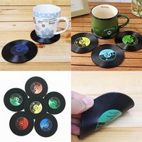 Wholesale 2017 CD Records Coaster Vinyl CD Record Cups Drinks Holder Mat Tableware Placemat For Bar Home Cup Accessories WX C48