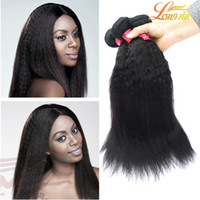Wholesale Natural India Hair - Peruvian Virgin human hair extensions Yaki kinky Straight hair bundles 8~20inch Unprocessed India Malaysian Peruvian Dyeable hair weave