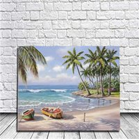 Wholesale Oil Acrylic Canvas - Framed On Canvas Diy Digital Oil Painting By Numbers Wall Holiday Beach Painting Acrylic Painting Hand Painted Home Decor For Living Room
