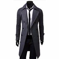 Wholesale Long Down Coat Camel - Wholesale- Fall-Men Long Peacoat Winter Down Jacket Mens Coat Male Camel black gray Wool Overcoat Manteau