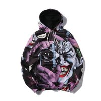 Wholesale Wide Cloth - 2016 New arrival winter cloth 3d print batman joker hood mens hoodie cool casual lacing pullover unisex 7 sizes sweatshirt free shipping