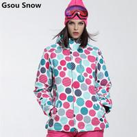 Wholesale Womens Skiwear - Wholesale- Gsou Snow winter Ski Jacket women clearance SALE womens skiwear ladies snowboard jackets skiing clothes colorful dots