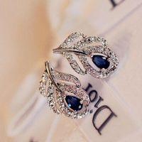 Wholesale Silver Earings Zircon - New Fashion Silver Plated Leaf Stud Earrings Wedding Bridal Sapphire Jewelry Blue Zircon Earings For Women Gift brincos