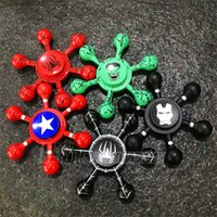 Wholesale Toys For Men Free Shipping - Newest Aluminum Alloy Metal Captain America Iron Man Fingertips Gyro Fidget Spinner Toy For Autism ADHD Adults DHL free shipping