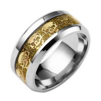 Wholesale Rings Design For Mens - New Design Ring for Gift Mens Jewelry Never Fade Stainless Steel Skull Ring Gold Filled Blue Black Skeleton Pattern Man Biker