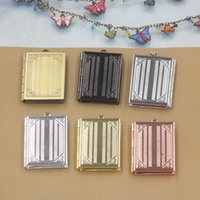Wholesale Black Square Picture Frame - 27*35*5MM Silver antique bronze rose gold black gun square photo locket charms jewelry, copper metal book picture frame pendants wish box